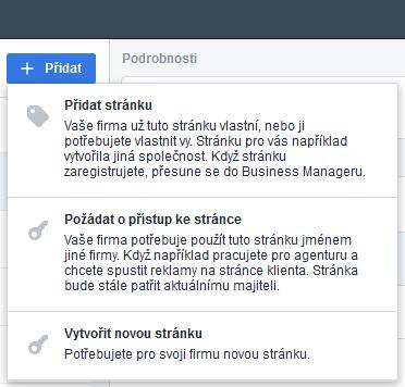 business manager - přidat stránku 2
